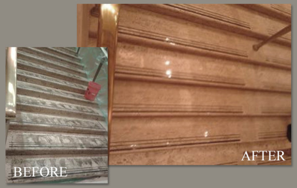 Travertine Stairs Restored