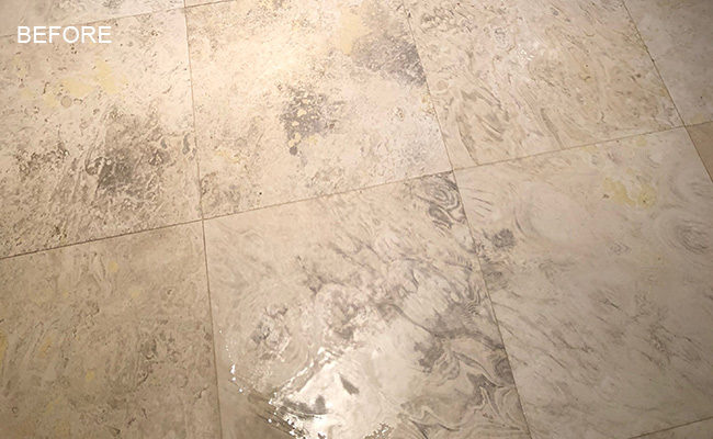 Damaged Travertine Floor