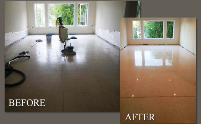 Before After Terrazzo Floor Repaired Polished Palm Beach